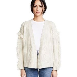 Madewell Fringe Cable Knit Cardigan Sweater XS